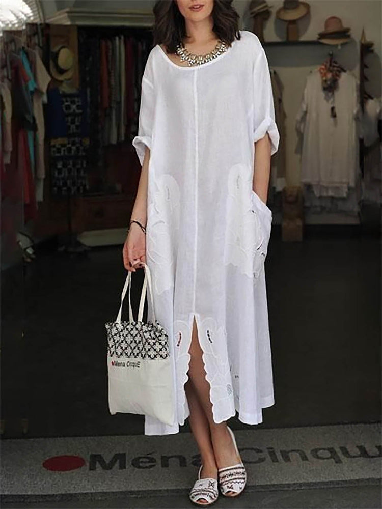 White Half Sleeve Slit Casual Cotton Dress