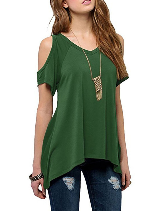 Light Green Paneled Basic T-Shirt