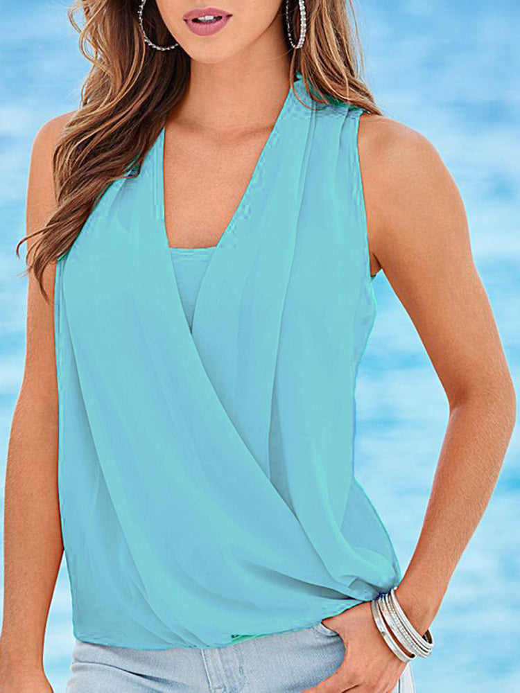 Light Blue V Neck Solid Draped Casual Tops