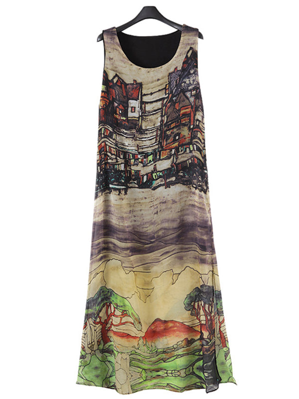 Abstract Sleeveless Chiffon A-line Plus Size Dress
