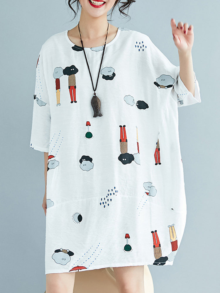 Plus Size Casual White Printed Cartoon Dress