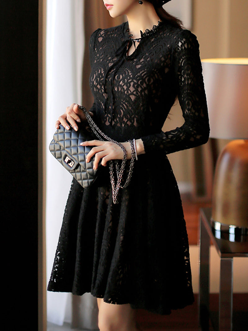 Black Lace Swing Long Sleeve Dress