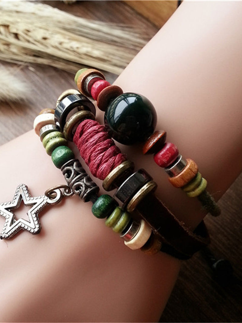 Fashion Bead Leather Bracelet