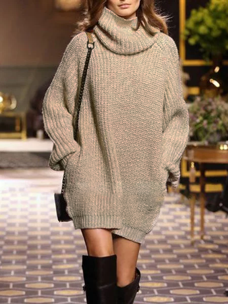 Long Sleeve Pockets Casual Solid Knitted Dress
