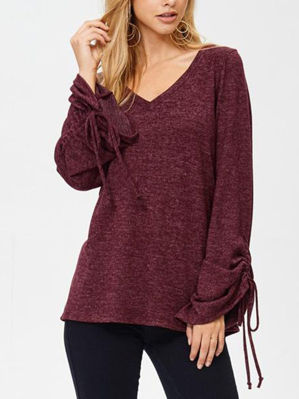 V-neck horn long-sleeved slim T-shirt