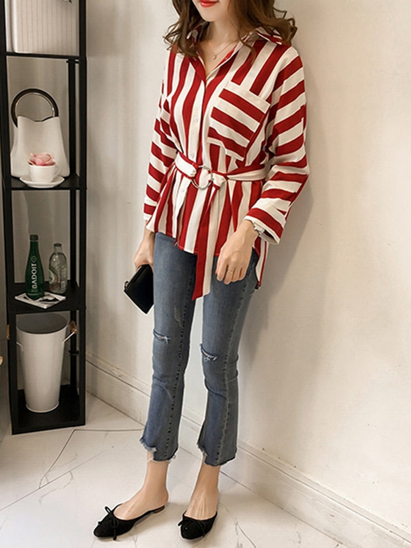 Long Sleeve Stripes Shirt Collar High Low Plus Size Blouse