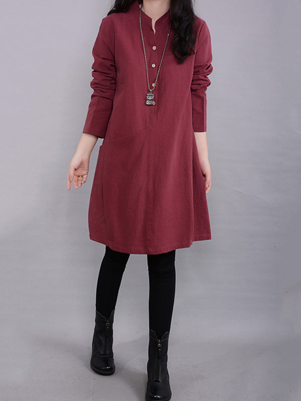 H-line Plain Long Sleeve Linen Plus Size Dress