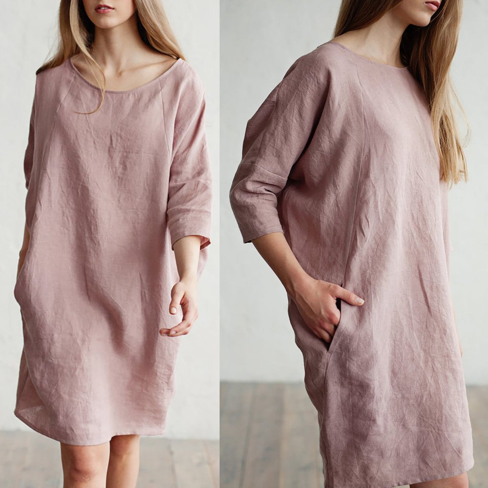 3/4 Sleeve Linen Shift Pockets Solid Midi Dress