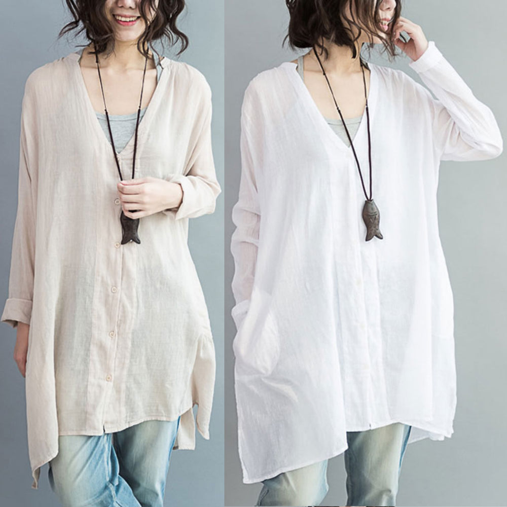 Casual Buttoned Pockets Linen Shirt