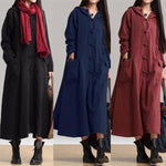 Vintage Plate Buckles Long Sleeve Hooded Maxi Dresses