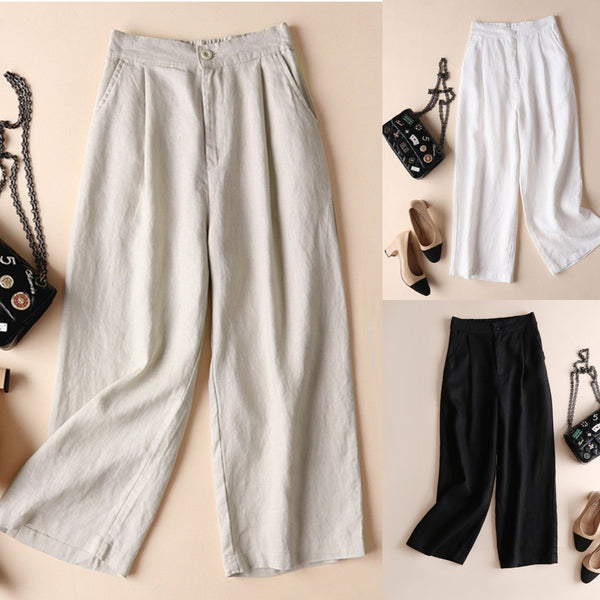 Pockets Casual Folds Linen Pants