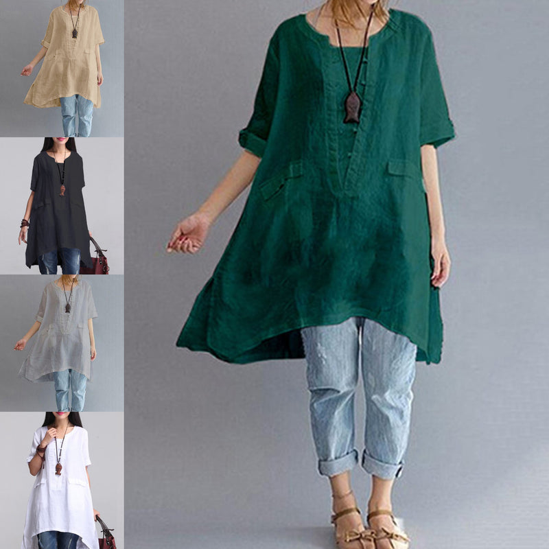 Solid Casual 3/4 Sleeve Cotton High Low Dress