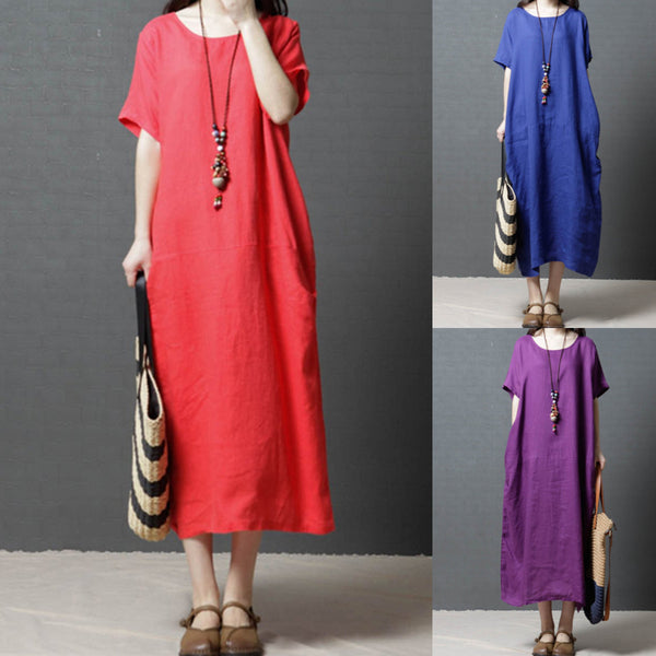 Plus Size Casual Linen  Pockets Solid Dress