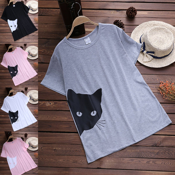 Cat Printed Casual Plus Size T-Shirt
