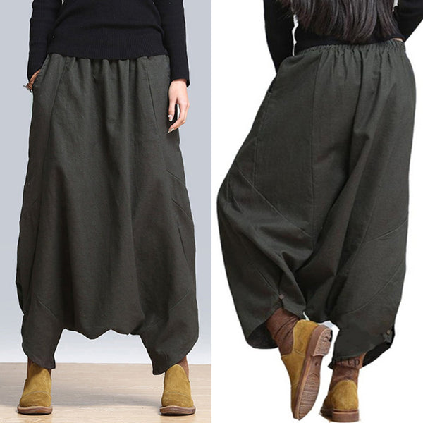 Black H-line Casual Pockets Harem Pants