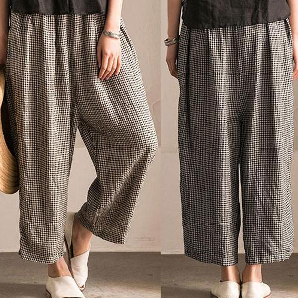 Black Pockets Shift Checkered/Plaid Casual Cotton Pants