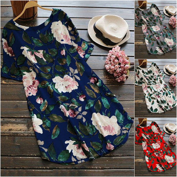 Navy Blue Short Sleeve Linen Floral Printed Plus Size Blouses & Shirt
