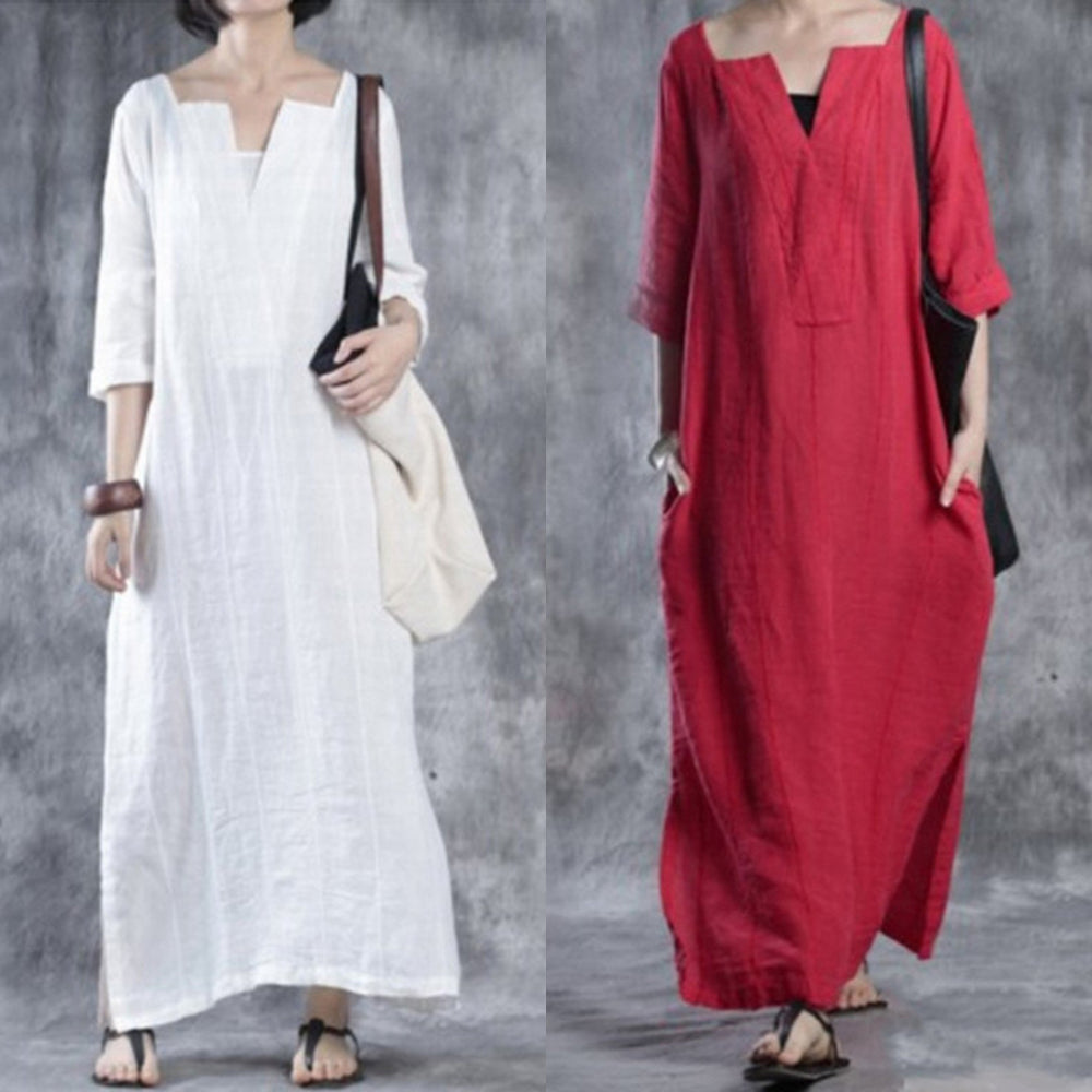 Red Solid Shift Simple & Basic Casual Dress