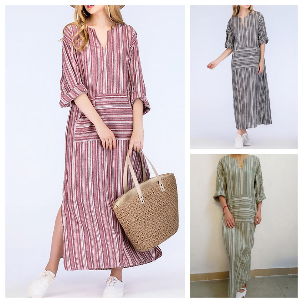 Long Sleeve Holiday Shift Maxi Dress
