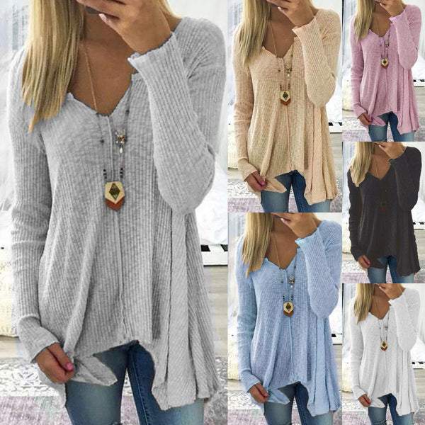 Long Sleeve Solid Cotton V Neck Sweater