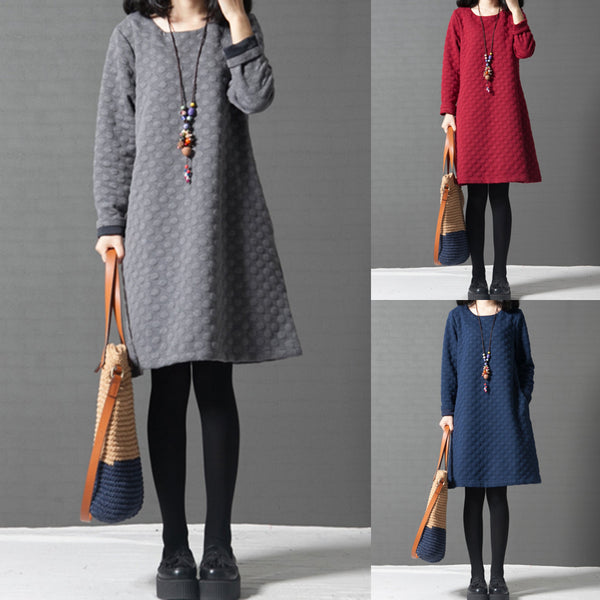 Polka Dots Long Sleeve Casual Dress