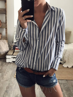 Long Sleeve Buttoned Casual Stripes Blouse