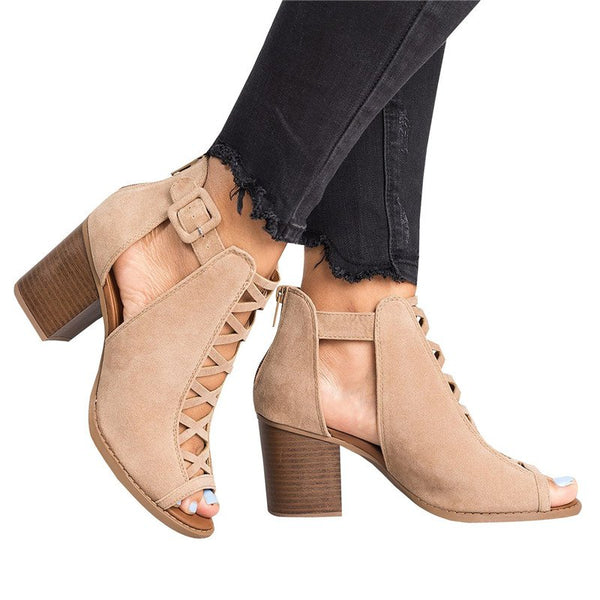 Platform Open Toe Ankle Strap Zipper Back High Heel Sandals