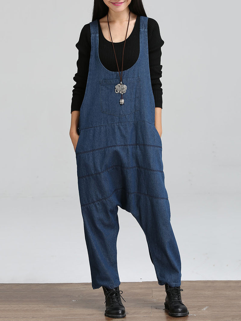 Sleeveless U-Neck Plain Casual Plus Size Jumpsuits