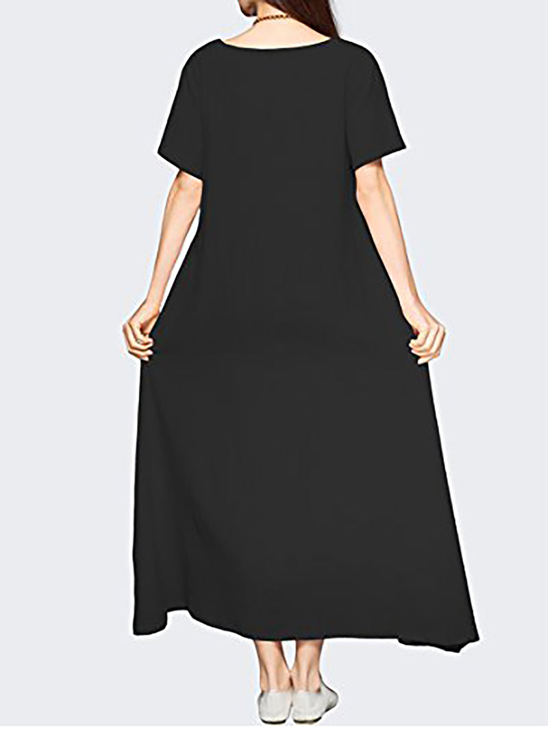 Short Sleeve Solid Basic Crew Neck Casual Dress