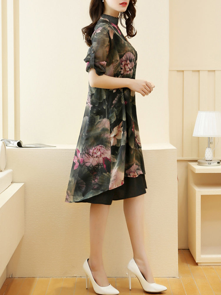 Green Statement Stand Collar Printed Dress