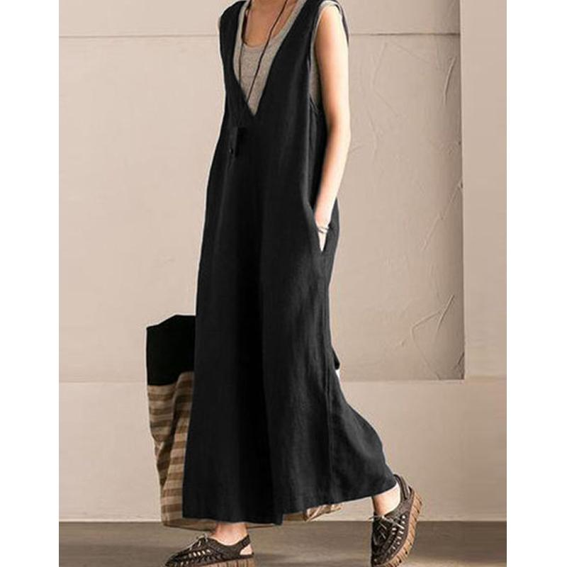 V-Neck Pockets Casual Solid Plus Size Jumpsuits