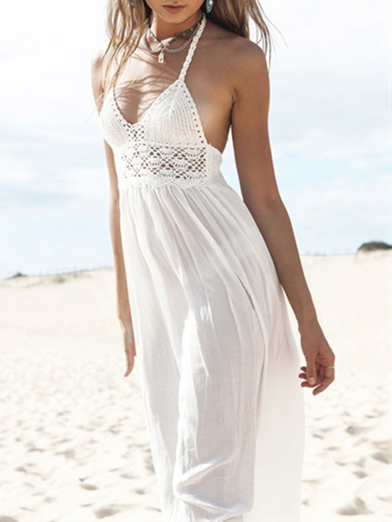 Holiday Chiffon White Backless Halter Maxi Dress