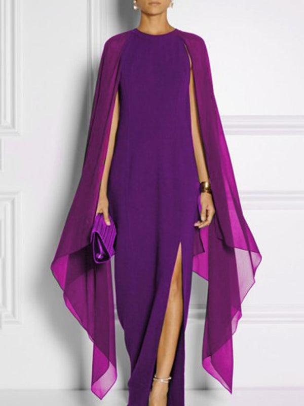 Paneled Elegant Solid Crew Neck Cape Sleeve Chiffon Dress