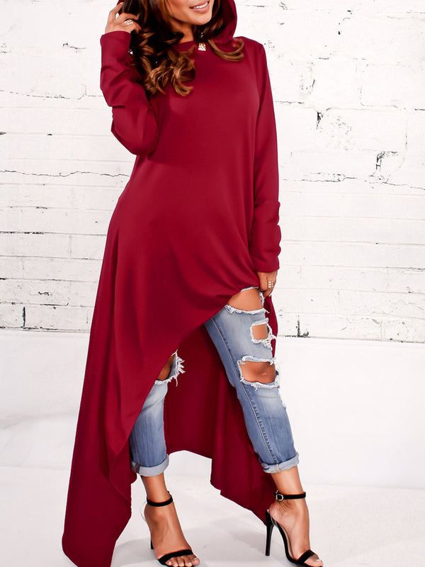 Long Sleeve Solid Asymmetric Plus Size Hoodie