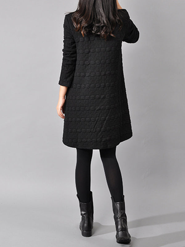 Black Plain Turtle Neck H-line Long Sleeve Dress