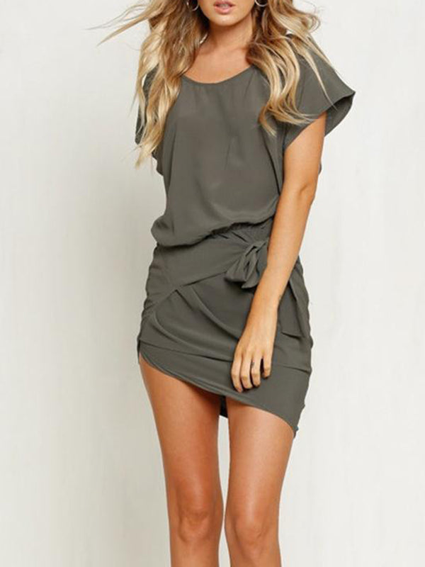 Gray Polyester Sweet Swing Summer Dress