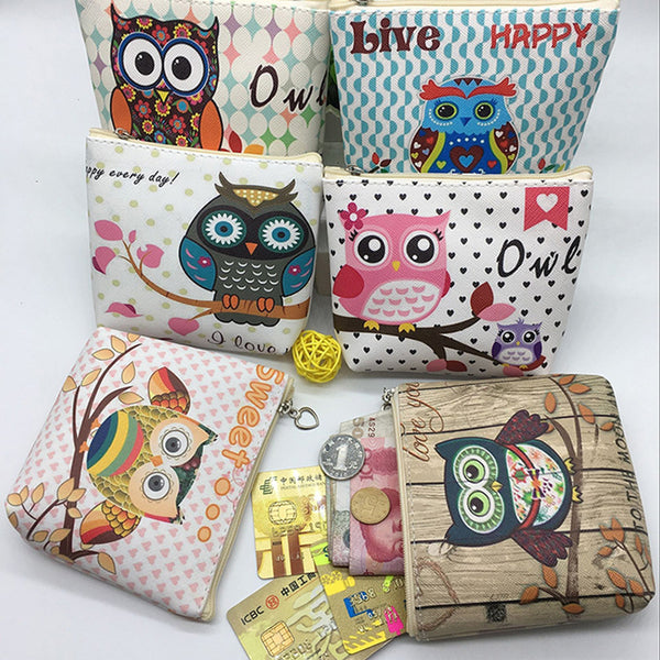 Womens Owl Cute Zipper PU Pocket Money Bags