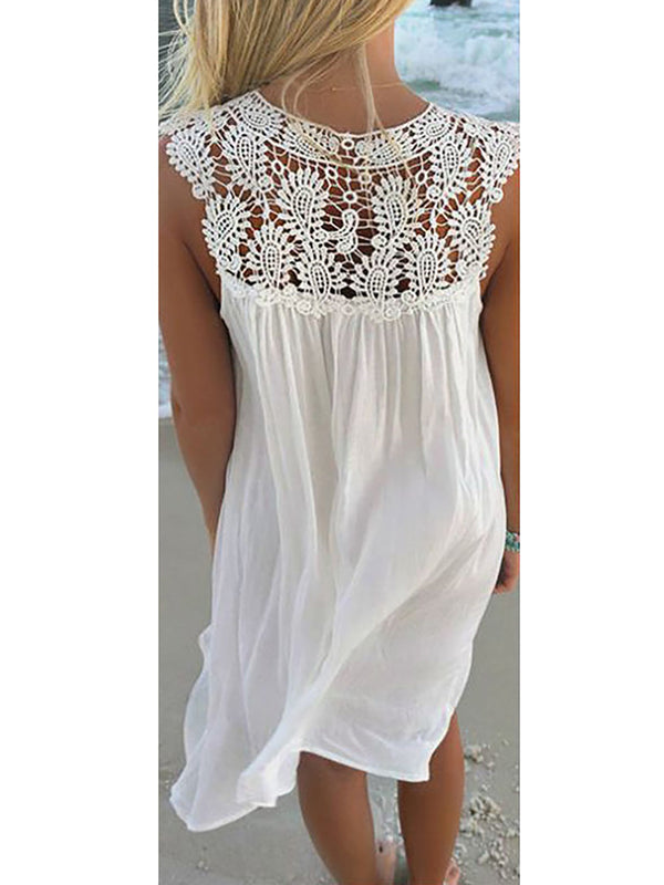 Summer Plain Sleeveless Vacation Dress