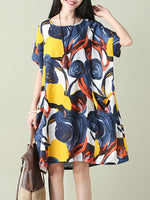 Short Sleeve Casual Abstract Printed Pockets Dress