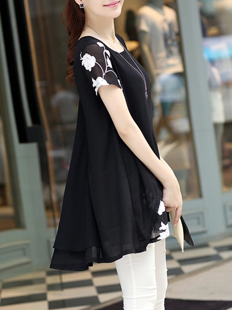 Chiffon Short Sleeve Floral-embroidered Crew Neck Plus Size T-Shirt