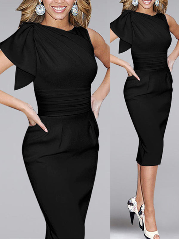 Ruched Frill Sleeve Elegant Solid Sheath Dress