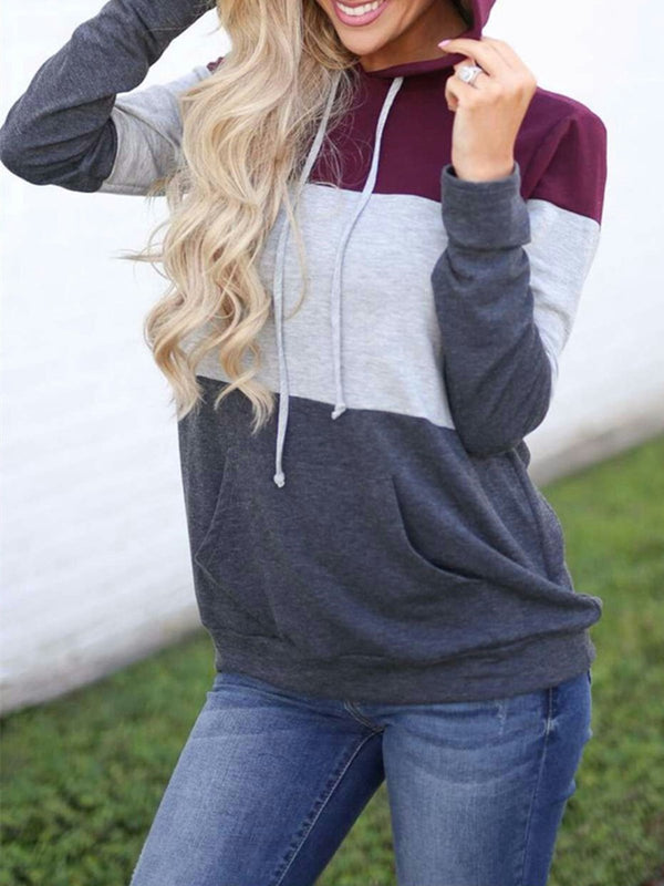 Color-block Pockets Casual Hoodie Hoodie