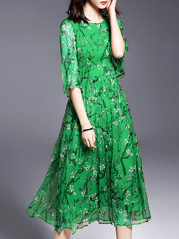 Green Chiffon Casual Slit A-line Midi Dress