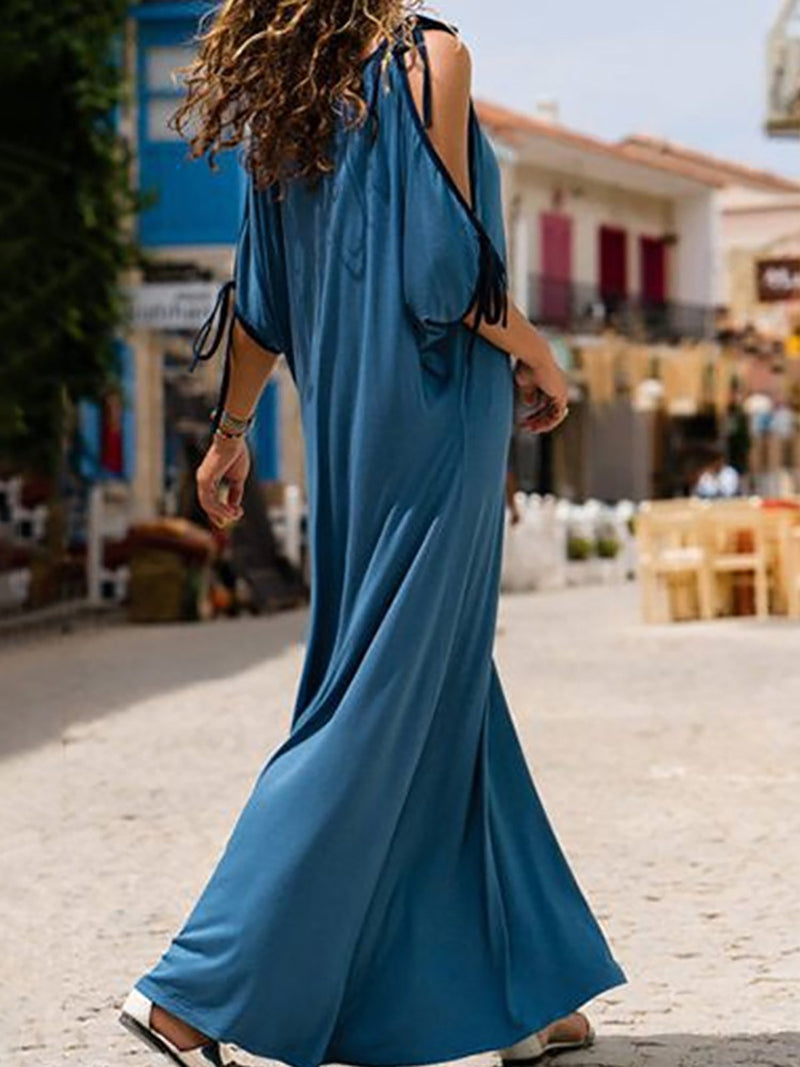 Blue Cold Shoulder V neck Midi Dress