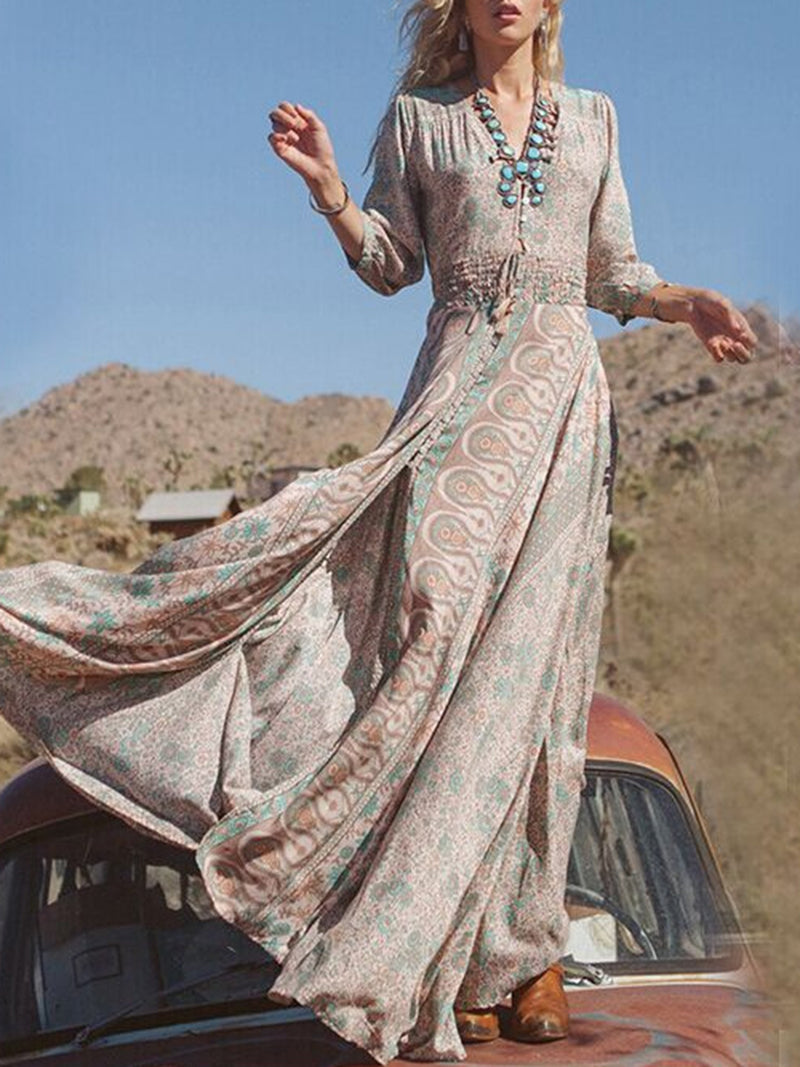 Slit 3/4 Sleeve Boho A-line Printed Maxi Dress