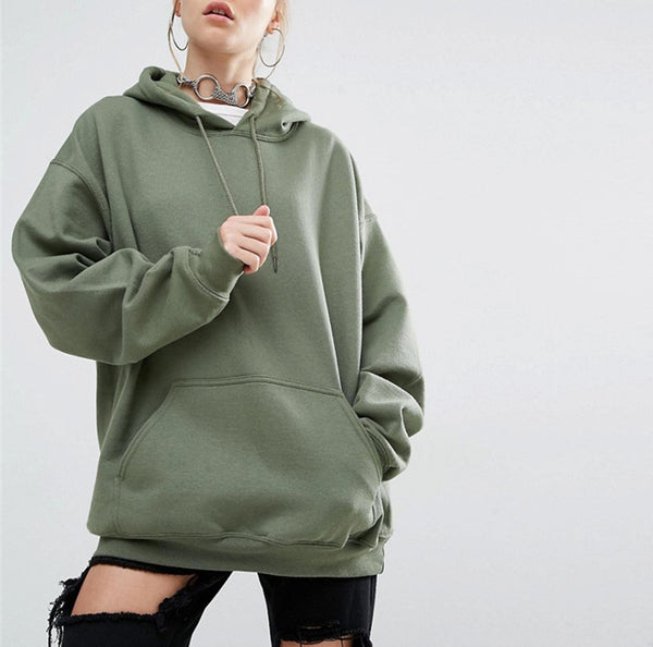 Solid Loose Fit Kangaroo Pocket Pullover Hoodie