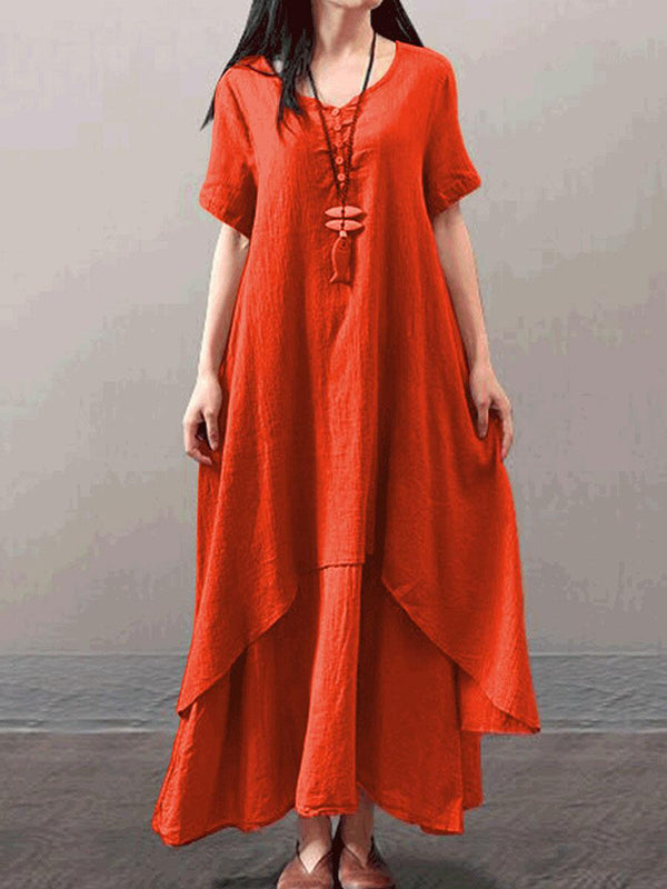 Plus Size Short Sleeve Tiered Plus Size Casual Solid Linen Maxi Dress