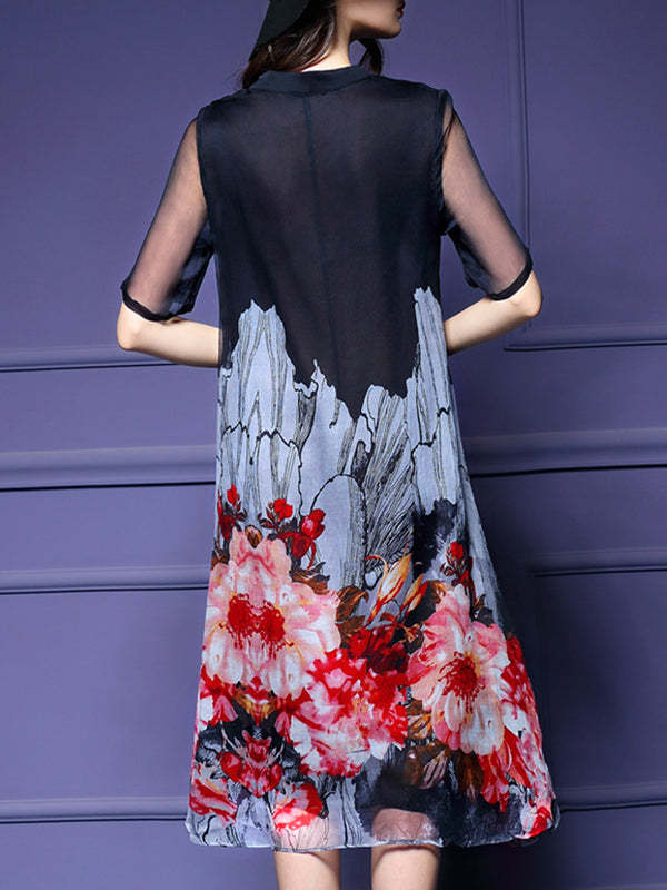 Black Swing Floral Printed 3/4 Sleeve Plus Size Dress
