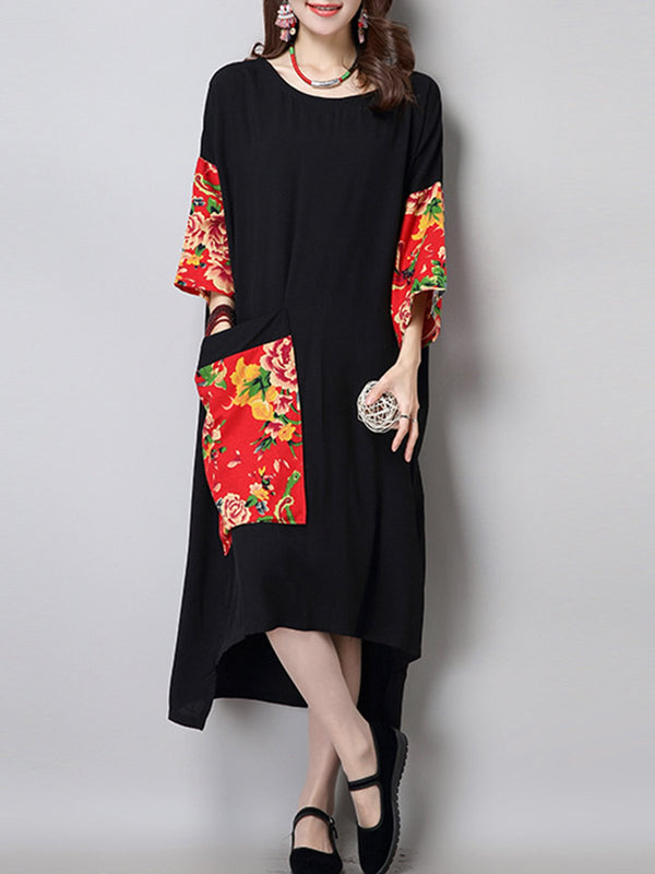Black Printed Crew Neck Floral Vintage Midi Dress