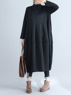 Shift Casual Cowl Neck Pockets Dress